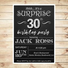 Surprise 30th birthday invitations for him #blackandwhite #surprisebirthday #surpriseinvitations