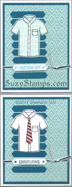 Stampin' Up! Cards - Custom Tee and Designer Tee Stamp Sets, T-shirt Builder Framelits Dies, Classic Label Punch and Boho Chic Embossing Folder