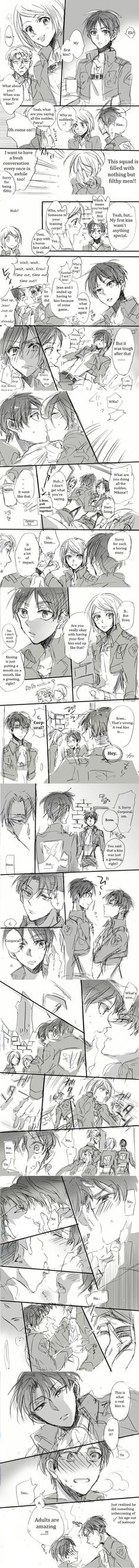 i love this comic it made me love ereri '*-* I MEAN LOOK AT THE WAY LEVI KISSES EREN * nosebleed*