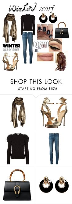 """""""Gold Lamé Scarf"""" by atenaide86 ❤ liked on Polyvore featuring Comptoir Des Cotonniers, Charlotte Olympia, Temperley London, Roberto Cavalli, Gucci and Kenneth Jay Lane"""