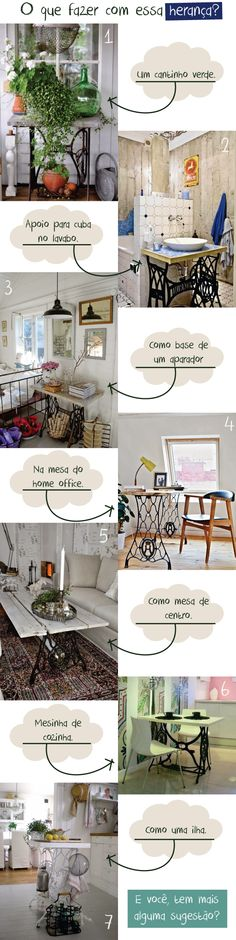 7 ways Sewing machine table Old Sewing Tables, Sewing Machine Tables, Sewing Machines, Sewing Rooms, Old And New, Vintage Sewing, Repurposed, Floor Plans, Minimalist