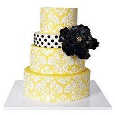 Pretty Cakes, Cute Cakes, Beautiful Cakes, Amazing Cakes, Damask Cake, Black Wedding Cakes, Black Weddings, Yellow Weddings, Wedding Yellow