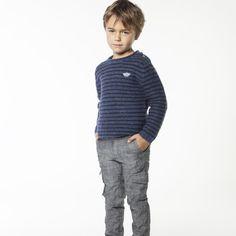 CARREMENT BEAU Pull en laine bleu marine garcon bleu - Kids around