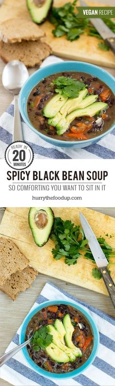 Mexican inspired Black Bean Soup. Ready in 20 minutes | #dinner #vegan | hurrythefoodup.com