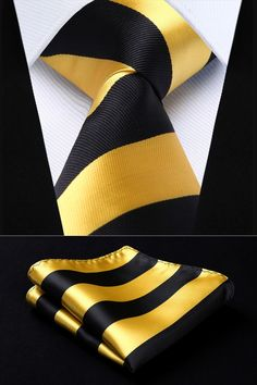 Cheap yellow black stripe, Buy Quality mens ties directly from China square tie Suppliers: Yellow Black Stripe Silk Woven Men Tie Necktie Handkerchief Set Party Wedding Classic Pocket Square Tie Yellow Black, Black Stripes, Mens Smart Casual Outfits, Style Gentleman, Big And Tall Style, Tie A Necktie, Costume Noir, Suit Accessories, Tie Set