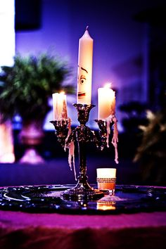 Beauty and the Beast-inspired fairytale wedding: Lumiere unity candle