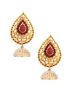 Tear Drop Style Gold Plated Jhumki Earrings