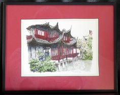 Old City Shanghai, Yu Gardens. By Thomas Hoehn, watercolor painted from a personal photograph.