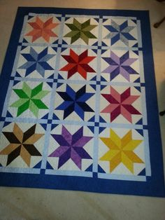 JDRF Raffle Quilt based on Missouri Star pattern.