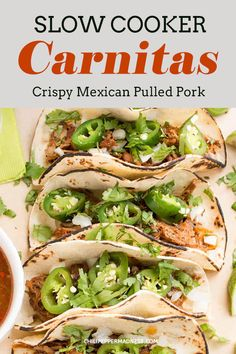 A recipe for home cooked pulled pork carnitas made simple in the slow cooker, then lightly seared to crispy perfection and served cantina style with warmed tortillas, onion, cilantro and roasted jalapeno peppers. Mexican Pulled Pork, Pulled Pork Tacos, Pork Nachos, Spicy Chicken Recipes, Pork Recipes, Healthy Recipes, Delicious Recipes, Crockpot Recipes, Healthy Food