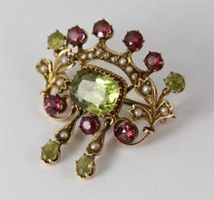 Suffragette Movement Gold Peridot Pearl and Garnet Brooch | eBay