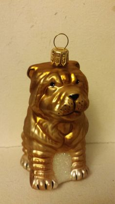 Blown Glass Chinese Shar-Pei Dog Christmas Tree Ornament Decoration or Bauble by ukbeadsonline on Etsy