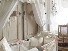 French nursery, design behind crib is lovely. Girl Nursery, Girl Room, French Nursery, Peaceful Bedroom, Deco Kids, French Style Homes, Baby Boy Rooms, Kids Rooms, Nursery Inspiration