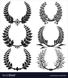 Laurel wreaths set vector image on VectorStock Spqr Tattoo, Laurel Tattoo, Laurel Wreath Tattoo, Stencils Tatuagem, Tattoo Stencils, Tatuagem Spqr, Tatoo Art, Tattoo Drawings, Erde Tattoo