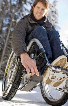 Wheelchairs have difficulties moving about in snow, but no longer thanks to Wheelblades. These small skis can be easily mounted on the front wheels of whee