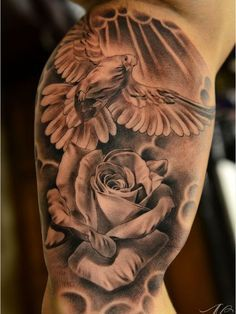 40+ Creative Dove Tattoo Designs and Symbolic Meaning - Peace, Harmony Check more at http://tattoo-journal.com/25-creative-dove-tattoos/