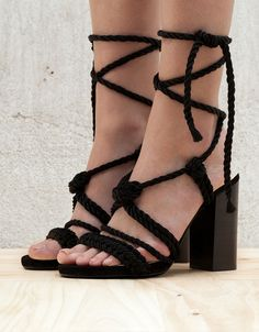 Cord tied heeled sandals - View All - Bershka United Kingdom