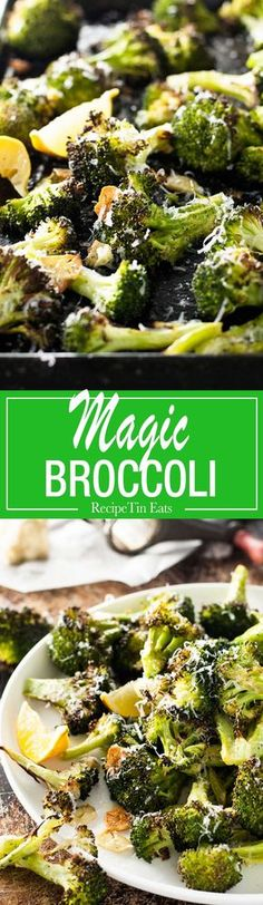 Magic Lemon Broccoli (leave off cheese). I think I could eat this entire plate of broccoli. Nothing like broccoli seasoned perfectly Healthy Recipes, Veggie Recipes, Vegetarian Recipes, Cooking Recipes, Easy Broccoli Recipes, Zoodle Recipes, Bariatric Recipes, Baked Brocolli Recipes, Meal Recipes