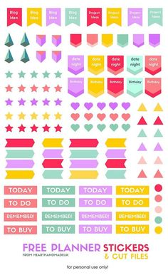 Free Printable Stickers For Your Planner & Free Cut File I'm so excited to share these free printable stickers with you today! I stay organised using planners all year around and I look at them on Pin Mais Free Planner, Planner Pages, Happy Planner, Organized Planner, Planner Ideas, Printable Planner Stickers, Free Printables, Printable Budget, Printable Tabs