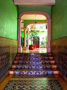 Talavera Tiled Foyer by Olden Mexico.  Capture the spirit of Mexico at http://www.lafuente.com/Tile/Talavera-Tile/
