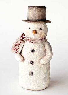 Natural Snowman Figure, by One Hundred 80 Degrees. Beautiful vintage-style snowman figurine covered in champagne super-fine glitter, with neutral-colored hat and scarf. This is for the Large sized snowman. Measures 12 inches tall.