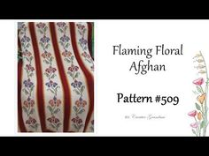 Flaming Floral Afghan #509 How to do Tunisian crochet with cross stitching - YouTube