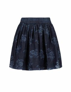 SuiteBlanco- Floral denim skirt