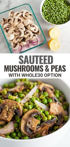 This healthy and flavorful side dish for Sautéed Mushrooms & Peas combines mushrooms, frozen peas, onion, garlic and a savory blend of herbs and spices to make an easy yet elegant side dish fit for busy weeknights and special occasions. Sauteed Mushrooms, Frozen Peas, Onion, Side Dishes, Special Occasion, Garlic, Spices, Beans, Vegetables