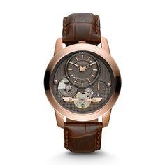 Montre Grant semi-automatique en cuir véritable brun ME1114   FOSSIL®