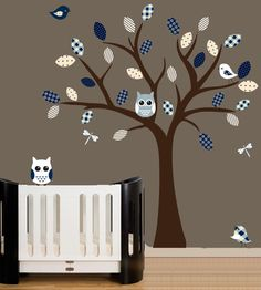 Childrens wall decal nursery wall tree with owl decals patterned vinyl wall art.