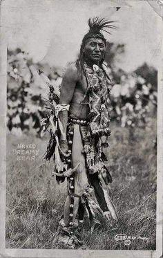 "An RPPC of ""Naked Dreamy Bear"" Rise Photos, postmarked 1938 from Oglala, South Dakota. I assume that ""Naked Dreamy Bear"" was an Oglala Sioux. Native American Print, Native American Pictures, Native American Artwork, Native American Beauty, Native American Tribes, Native American History, Native Indian, Portraits, Nebraska"