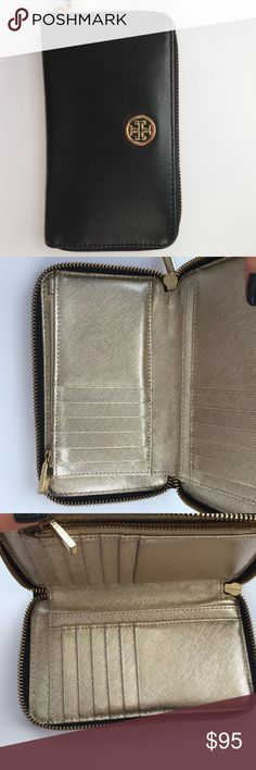 Tory Butch Wallet Black leather wallet gold leather inside Tory Burch Bags Wallets