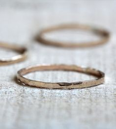 Delicate 14K Gold Hammered Rings