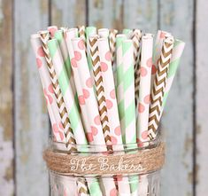 Paper Straws in Coral, Mint & Gold