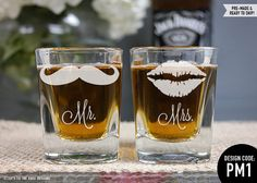 Mr. & Mrs. Shot Glasses - (Set of TWO) Glass His and Hers Shot Glasses - Custom Shot Glass - Bride and Groom Gift - Wedding Favor