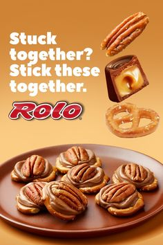 Easy Homemade ROLO Recipe To Make At Home With Kids - - Make homemade candy in under five minutes with ROLO Creamy Caramels in Chocolate Candy, pretzels and pecans. These ROLO Pretzel Delights are so quick and easy, even kids can join the fun. Rolo Pretzel Treats, Rolo Pretzels, Caramel Treats, Mini Baguette, Easy Desserts, Delicious Desserts, Sandwiches, Bark Recipe, Easy Meals For Kids