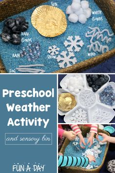 A super fun weather activity for preschool! Invite your kids to create a weather-themed sensory bin with you. Perfect for a weather theme, to talk about the daily weather outside, to explore seasons, or as a circle time extension! Sensory Activities For Preschoolers, Infant Sensory Activities, Gross Motor Activities, Preschool Learning Activities, Indoor Activities For Kids, Preschool Science, Sensory Bins, Science Education, Preschool Weather