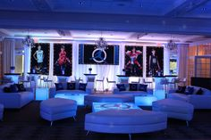 Sneaker Themed Lounge SetupLounge Setup with LED Backdrop, Blowup Photos, LED Furniture, Custom Pillows, Logo Decals & Mini Centerpieces for Sneaker Themed Bar Mitzvah