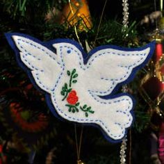 Dove, Felt Christmas Tree Ornament