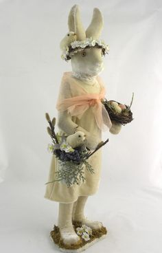 "21"" Velveteen Lady Bunny Rabbit w/Nest and Basket~Vintage Style~Easter/Spring #Unbranded"