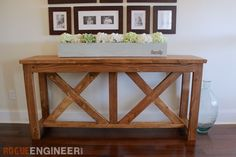 These free and easy DIY plans show you exactly how to build a beautiful X-brace console table for under $40. Whammy!