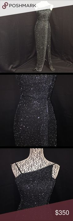CACHÉ Small Black Beaded Dress Gown Authentic This dress is drop-dead gorgeous! It has an open-leg slip that goes up to knee-length as well as an open back. The detailing & beading on this dress are perfect. No snags!! Please feel free to ask any questions :) Cache Dresses