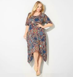 Shop dresses with beautiful patterns and matching accessories like our plus size Baroque Necklace Sharkbite Dress available in sizes…