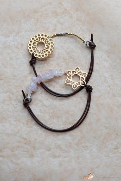 Leather bracelet without a closure ~ The trick is to string the beads using elastic beading thread, crimping each thread end securely.  Easily seen in the pic.   . . .  ღTrish W ~ http://www.pinterest.com/trishw/  . . .  #handmade #jewelry #beading