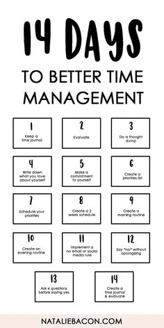 14 Days To Better Time Management - free download template #timemanagement #freebie #personaldevelopment #nataliebacon