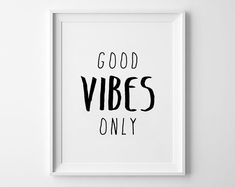 Good Vibes Only Poster, typography art, wall decor, mottos, handwritten, giclee art, inspiration, emotion, motivational, printmaking