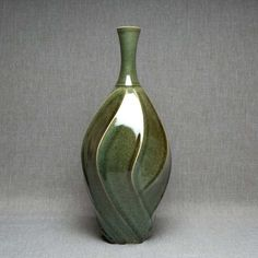 Tall Carved Green Vase by Jim Connell