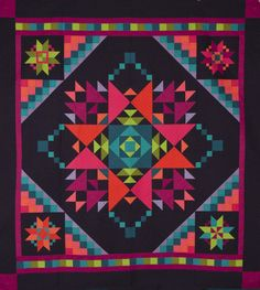 Amish Twist quilt, pieced by Mary Clink, quilted by Rebecca Silbaugh. (Amish with a Twist III quilt design by Nancy Rink. Sampler Quilts, Star Quilts, Mini Quilts, Bright Quilts, Colorful Quilts, Quilting Projects, Quilting Designs, Quilt Design, Patchwork Quilt Patterns