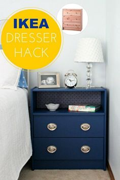 New Bedside Table: Super simple to transform this Ikea Rast dresser. Just adding a little panit and changing the hardware to the simple IKEA dresser. It is now a new bed side table that's perfect for guest bedroom.