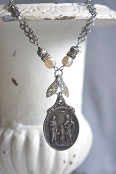 Family Blessings-Vintage assemblage necklace by frenchfeatherdesigns on Etsy